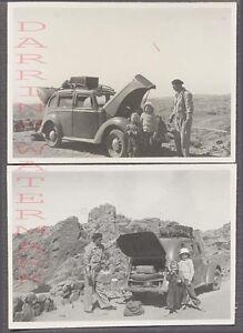 Vintage Car Photos Family w/ Roadside 1940 Hillman Minx Automobile 724614
