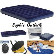 Inflatable Air Bed Mattress Flocked Camping Guest Relaxing Single, Double, Pump