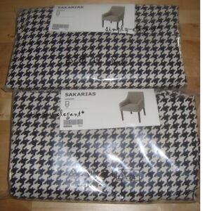 Set of 2 - IKEA SAKARIAS Chair Covers VIBBERBO Black White Sakarias Slipcovers