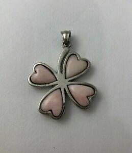 Stainless Steel 30mm 4 ~ Leaf Clover / Heart Pendants ~ Semi Precious Stones ~