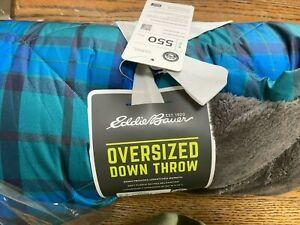 EDDIE BAUER, 550 Fill Oversized Down Throw, Blue Plaid, Fleece lining, NWT