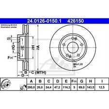 ATE 2x Bremsscheiben belüftet beschichtet 24.0126-0150.1