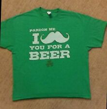 Mens Pardon me I Mustache you for a Beer Tshirt Funny St Patricks Day Green XXL