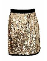 Dolce Gabbana Skirt Evening Short Elegant Sequins Silk Gold Black