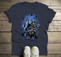 Men's Octopus T Shirt Hand Drawn Vintage Diving Shirts Graphic Tee Scuba Shirts