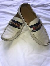 Gucci Italy Made Mens UK 8.5 US 9.5 White Leather Driving Moccasin Loafers Shoes