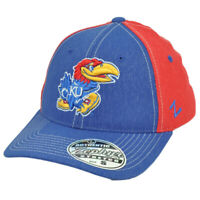 NCAA Zephyr Kansas Jayhawks Heather Blue Red Flex Fit Small Stretch Hat Cap