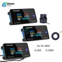 6 in 1 Color Display AC50-300V Digital Power Energy Temp Meter Ammeter Voltmeter