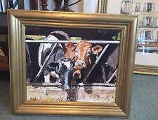 """NUOVO Originale Fraser King """"L' ALIMENTAZIONE DELLE MUCCHE"""" Guernsey FRISONE Mucca fattoria dipinto ad olio"""