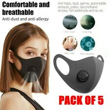 Face Mask Protective Covering Mouth Masks Washable Reusable Black Filter Pack x5