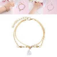 Fashion Heart Rhinestone Crystal Multilayer Bracelet Bangle Women Cuff Jewelry