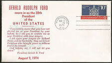GERALD FORD INAUGURATION DAY COVER 1974  PRESIDENT FORD'S ADDRESS GOOD TO FRAME