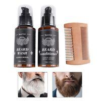 3pcs/set Beard Deep Cleansing Care Kit Shampoo + Wood Comb + Beard Conditioner