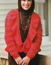 Ribbed Collar Cardigan Sweater 6 Sizes Women'S Crochet Pattern Instructions
