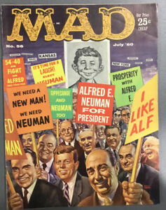 """Mad Magazine Vol. 1 No. 56 July 1960 """"Neuman for President"""" (Kelly Frens Cover)"""