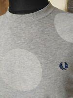 Mens FRED PERRY Grey T Shirt Medium Bubbles Crew Neck