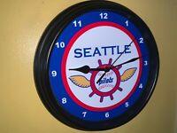 Seattle Pilots Mariners Throwback Baseball Bar Man Cave Wall Clock Sign