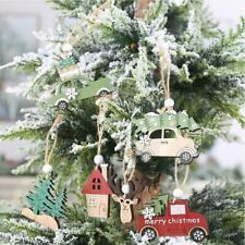 3* Wooden Hanging Christmas Tree/Cabin/Elk/Car Ornament Party AU Home Xmas J0V1