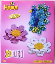 HAMA MIDI BEADS 3238 - 3D DECO FLOWERS & PEACOCK WITH 2500 STRIPED BEADS - NEW!