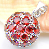 Jewelry Natural Multi Gemstone Fire Red Garnet Gems Silver Necklace Pendant