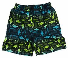 Size 4 - Boys Board Shorts Black with Blue/Green Shark print Boardshorts NEW