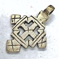 Antique Post Medieval Coptic Christian Silver Tone Cross Pendant Charm Rare SA