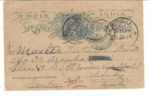 Portuguese INDIA stationary card MAJORDA C.A. TPO to Bombay, BYCULLA redirection