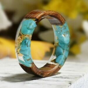 Wood Resin Turquoise & Gold Flakes Band Ring Size 7