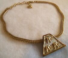 Vintage  Signed 1999AD Goldplated Elephant Triangle Pendant necklace Estate jew