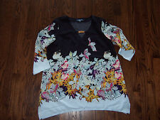 NWOT KELLY by Clinton KELLY size 12 floral blouse top shirt Pretty!