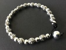 BLACK Real Leather Tibetan Silver Beaded bracelet boho Bijoux Jewellery