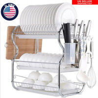 Kitchen Storage Space Saver Dish Cup Drying Rack Holder Sink Drainer 3 Tier NEW