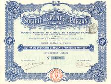 Societe des Mines de Parzan (Espagne) SA, accion, 1912