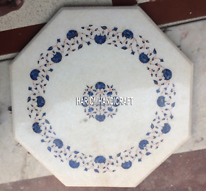 Lapis Floral Mosaic Stone Marble Coffee Table Top Inlay Outdoor Real Decor H5387