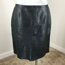 Vintage Petite Sophisticate L 12 14 Black leather Skirt Excellent