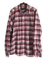 Vintage Eddie Bauer Cotton Flannel Mens XLT Red Blue Plaid Long Sleeve Cotton