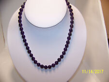 New hand strung 8mm amethyst bead necklace, 18 inches long.