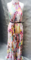 New Ted Baker Eletric Daydream Print Pleated Dress Sz 1,4,5