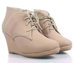 """Taupe Side Zipper  Lace Up Booties Womens 3.25"""" Wedge Heels Ankle Boots Size 7"""