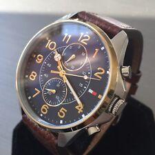 Mens Tommy Hilfiger Designer Watch Blue 1791275 DEAN Steel Leather Genuine