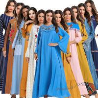 Women Long Maxi Dress Muslim Robe Abaya Islamic Casual Dubai Embroidery Jilbab