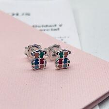 918563500 Original TOUS Silver Enamel Tartán Bear Stud  Earrings