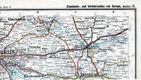 Berlin Köpenick Fürstenwalde Frankfurt (Oder) 1906 orig Teil-Eisenb.-Atlaskarte