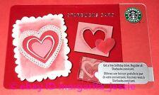 "STARBUCKS CANADA GIFT CARD ""PAPER HEARTS"" VALENTINE'S DAY 2011 NEW NO VALUE 6065"