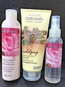 Avon Naturals Rose & Chocolate Body Spritzer, Body Lotion & Body Scrub Brand New