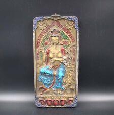 Collectible Handmade Carving & Painting Wood Buddha Mrual Thangka Deco Art 043