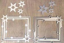 Stanzschablone/ Cutting dies Sternrahmen mit 3 Sternen extra, 4 Stk, 11x12 cm