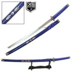 """40"""" Blue KATANA Sword YING YANG Stainless Steel Blade Collectible SAMURAI"""