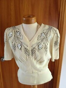 1940s Style Evening Blouse Tunic Black and Gold Silk Sequins Beads Sz 14 #1270