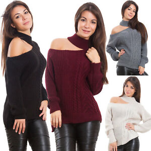 Pull Femme Pull Tricot Jersey Col Hiver Épaule Ouverte Sexy VB-6632
